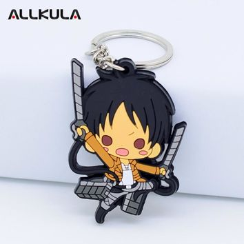 Cool Attack on Titan  Action Figure For Keychain Eren/Mikasa Ackerman Various Styles Key Chains Soft PVC Cute Cartoon Peripherals AT_90_11