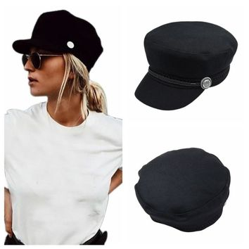 Winter Hats For Women Men Octagonal Cap Wool Button Traveling Hiking Caps Sun Visor Hat Black Sport Running Hat