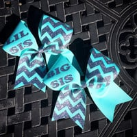 3 inch big sis lil sis cheerleader cheer bow glitter chevron set