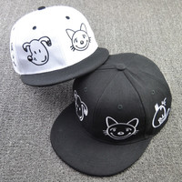 Cartoon kitten dog flat along the tipping eaves baseball cap spring summer sun hat lover  hip hop hat = 1916472388
