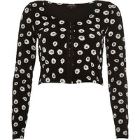 River Island Womens Black daisy print hook and eye crop top