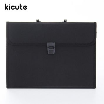 Kicute Portable Plastic Expanding File Briefcase Document Folder A4 Storage Bag Organizer Filing Rectangle Bag Office Supply
