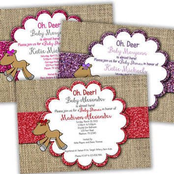 Little Deer Burlap Girl Baby Shower Invitations - Doe Baby Shower - Country - Pink Glitter - Red - Purple - Baby Shower Invite - Hairbow