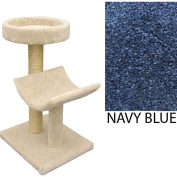 "Two  Level Cat House -Cradle & Perch - Navy Blue (Navy Blue) (37""H x 26""W x 20""D)"