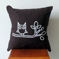 Unique Screen Printed Owl Pillow Cover 16x16 100% Kona Cotton Chocolate Brown