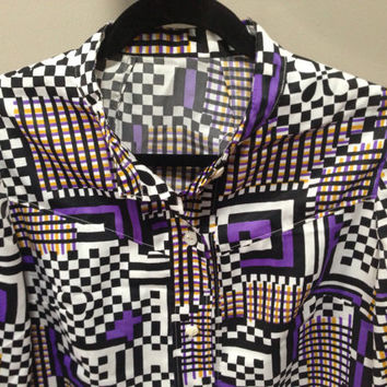 Wild Patterns Blouse Loud Black White Purple Trippy Shirt Hypnotic Retro High Contrast Pattern Short Sleeve Button Down Blouse Funky Shirt L
