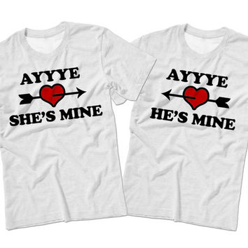 Couples Valentine's Day Matching T Shirts | She's Mine & He's Mine Matching Valentines Shirts | Cute Couples Gift