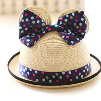 Rose Red Blue Beige Yellow 2016 Cat Ear Cute Cartoon Children Crochet Straw Hat Big Dot Bow Summer Sun Hat Cap For Kids Boy Girl