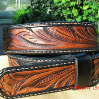 Walnut hand tooled leather belt