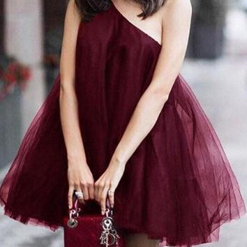 New Burgundy Grenadine Asymmetric Shoulder Fluffy Puffy Tulle Tutu Skater Bridesmaid Prom Party dress