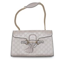Gucci Emily Guccissima Leather Chain Shoulder Bag Storm Gray Leather New