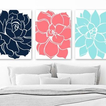 Flower Wall Art, Aqua Turquoise Navy Bedroom Wall Decor Canvas or Print Bathroom Decor, Succulent Flowers, Floral Dahlia Pictures Set of 3