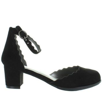 CREYONIG MIA Kids Amore - Girl's Black Nova Suede Scallop Edged Ankle Strap Pump