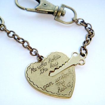 Key to My Heart Keychains - His and Her Keyrings - He Who Holds the Key Can Unlock My Heart - Boyfriend Girlfriend Gift - Couples Gift