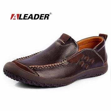 ALEADER New Autumn Men Shoes Genuine Leather Loafers Slip On Hand Made Mocassins For Men Driving Shoes Fashion Men Design Shoes