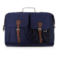 NAVY WOOL BLEND OVERSIZED BACKPACK - New In