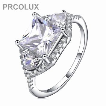 PRCOLUX Fashion Wedding Rings For Women White CZ Solitaire 925 Sterling Silver Engagement Ring Female Finger Jewelry Gifts XA026