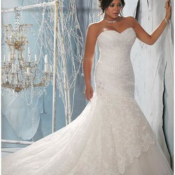 [271.99] Alluring Lace & Satin Sweetheart Neckline Natural Waistline Mermaid Plus Size Wedding Dress - dressilyme.com