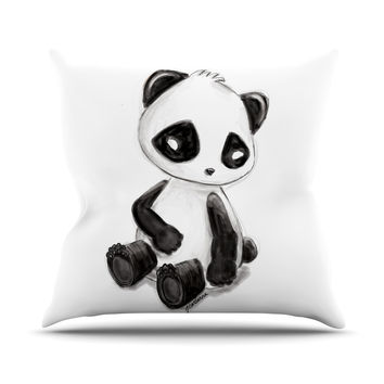 "Geordanna Cordero-Fields ""My Panda Sketch"" Black White Outdoor Throw Pillow"