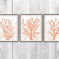 Coral Trio - Set of 3 8x10 Prints - Beach House, Bathroom, Nursery Decor - Coral Silhouettes - More colors & sizes available