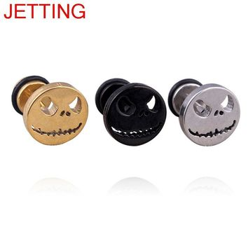 JETTING 1Pc Skull Ghost Face Fake Ear Stud Retro Gothic Punk Style Earrings Fashion Jewelry Gift