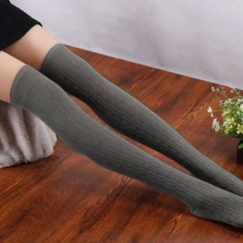 DOUDOULU 1 Pair New Cotton Women Knit Over Knee Thigh Stockings Spiral Pattern High Stockings Drop shipping