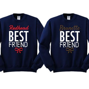Brunette and Redhead Best Friends Girl BFFS Sweatshirts