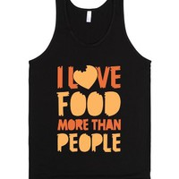 I Love Food More Than People-Unisex Black Tank