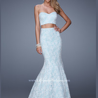 Two Piece Sweetheart Lace Mermaid La Femme Prom Dress 21096