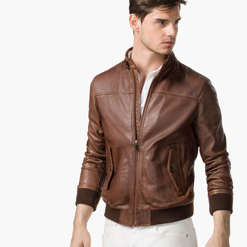 BOMBER JACKET - Leather jackets - MEN - Canada - Massimo Dutti