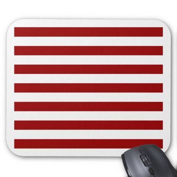 Thick Red and white lines, geometric pattern Mouse Pad
