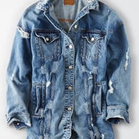 AE Elongated Boyfriend Denim Jacket, Blue
