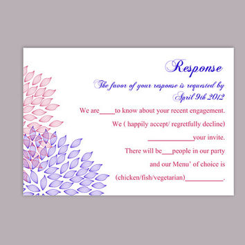 DIY Wedding RSVP Template Editable Text Word File Download Rsvp Template Printable RSVP Cards Purple Fuschia Rsvp Card Floral Rsvp Card