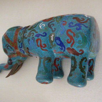 Asian Cloisonne Blue Elephant Box Decorated Dimensional Red Accent