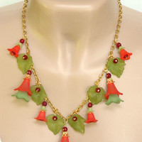 Red and Green Lucite Flower Necklace Christmas Holiday Long Handmade