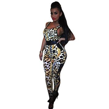 New Arrival 2016 Summer Bodycon Jumpsuit Fashion Women Leopard Long Bodysuit O-neck Sleeveless Sexy Club Jumpsuits And Rompers