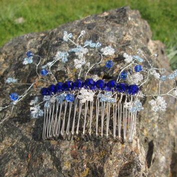 Something blue Hair comb blue Crystal bridal hair Flower comb Leaf hair comb Beads comb hair Royal blue bride Blue accessory Blue for bride