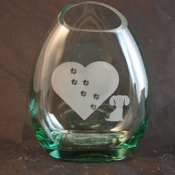 Flower Vase From Upcycled Liquor Bottle, Recycled Bottle, Dog Lover Vase, Liquor Bottle Vase, Sand Etched Bottle
