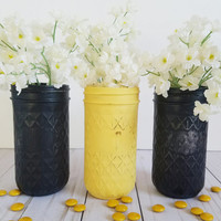 Bumble Bee Baby Shower - Yellow Black - Construction Party - Bumble Bee Birthday Party - Dorm Decor - Flower Vase - Mason Jar - Centerpiece