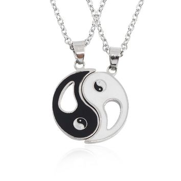 Fashion Best Friends Necklace Women Silver Yin Yang Tai Chi Necklaces & Pendants Gossip BFF Unisex Jewelry Dropshipping Colar