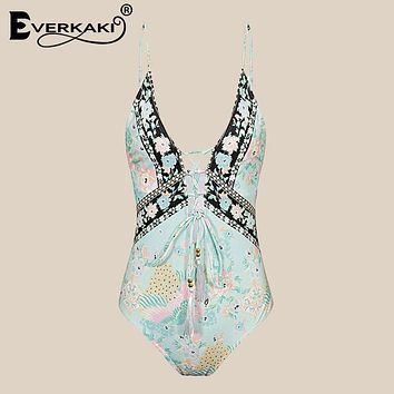 Everkaki Sexy Lace Up Boho Bodysuit Women Gypsy Peacock Floral Print Backless BodySuits Beach Holiday Rompers Summer 2018 Women