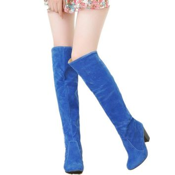 Large size 34-43 2016 New Women Knee High Boots Sexy Chunky High Heels Spring Autumn S