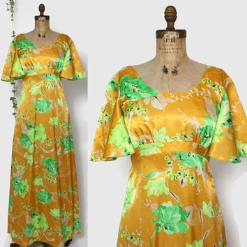 Vintage 70s Tropical Print Dress / 1970s Tori Richard Flutter Sleeve Empire Maxi Dress