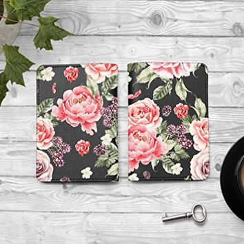 Rose Floral Flowers Passport Holder -Leather Passport Cover - Vintage Passport Wallet - Travel Accessory Gift - Travel Wallet for Women and Men_LOKISHOP