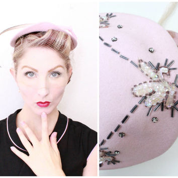 1950s Hat / VINTAGE / 50s Hat / Pink / Feather / Sequins / Birdcage veil / Glass Beads