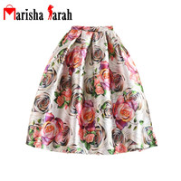Elegant Fancy Flower Print Skirt Long Midi Women Fashion Vintage High Waist Big Swing Pleated Tulle Skater Skirts Saia Plissada
