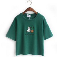 [Magic] Embroidery Cat Cactus casual t shirt for Women cotton t-shirt short loose style tops hot tee 4color JA22 free shipping