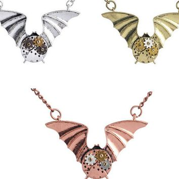 Hot design Gothic Halloween brass flying Bat Punk clock Vintage Angle wing Necklace Pendant sweater chain handmade men necklace