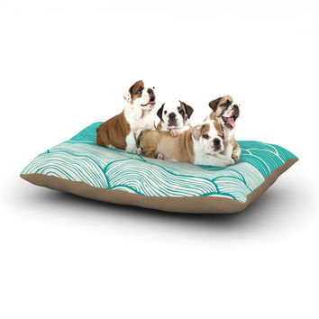 """Pom Graphic Design """"The Calm and Stormy Seas"""" Green Teal Dog Bed"""