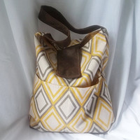 Hobo  Diamond print Hobo bag with Brown suede strap  by ACAmour